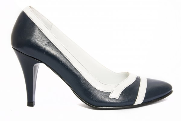 Pantofi dama cu toc 612.7 albastru alb 34-41