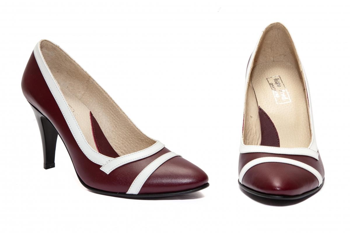 Pantofi dama cu toc 612.7 grena alb 34-41