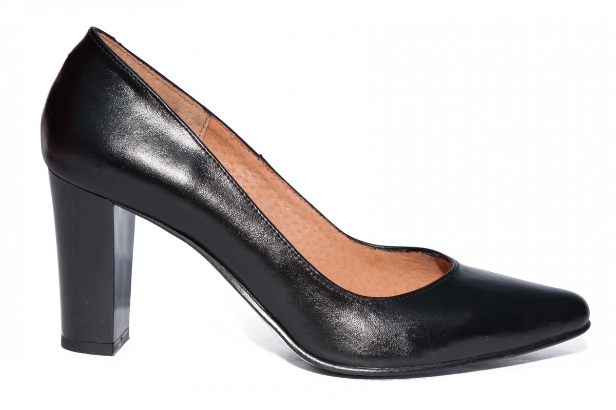 Pantofi dama cu toc 720 negru box 34-40