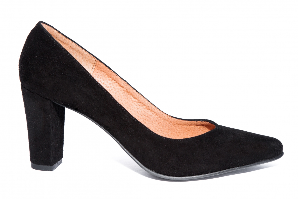 Pantofi dama cu toc 720 negru velur 34-40