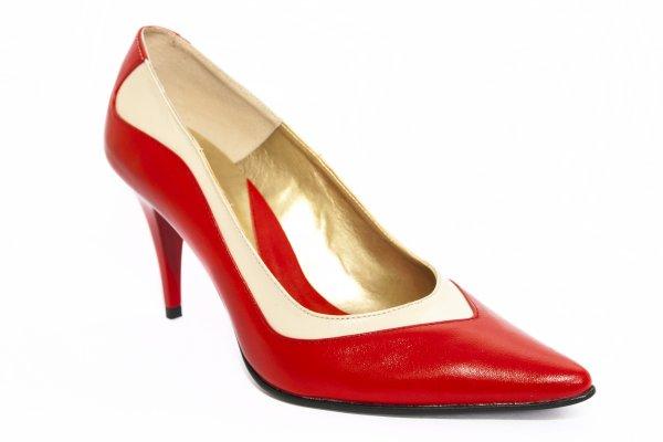 Pantofi dama cu toc 725.5 rosu bej 34-41