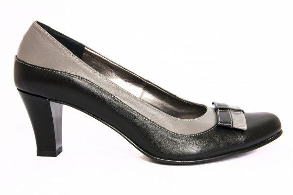 Pantofi dama cu toc 827.5 negru gri 34-41