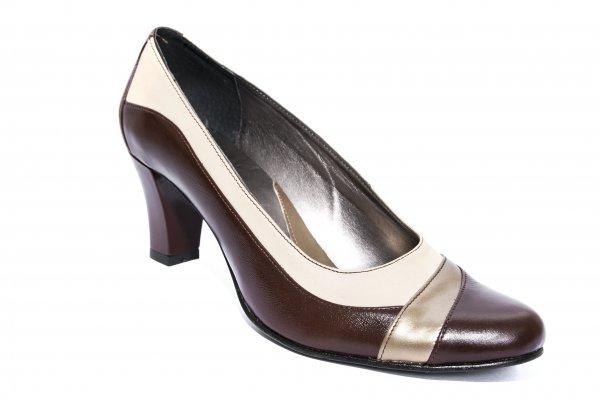 Pantofi dama cu toc 827.u maro bej kaki 34-41