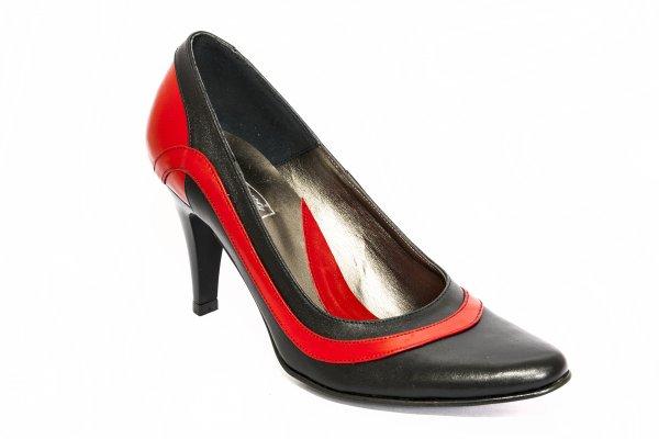 Pantofi dama cu toc 887.5 rosu negru 34-41