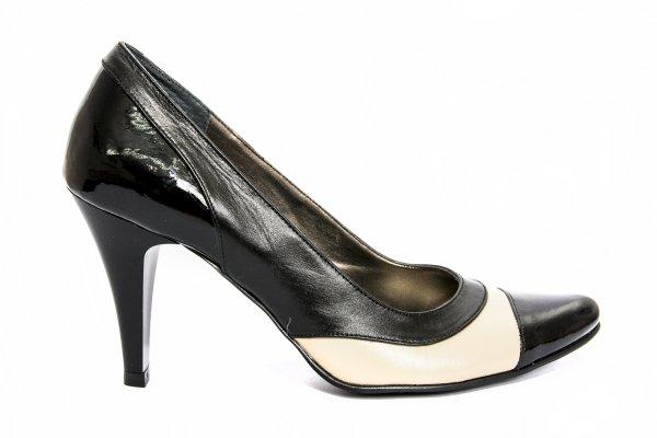 Pantofi dama cu toc 887.6 negru bej 34-41