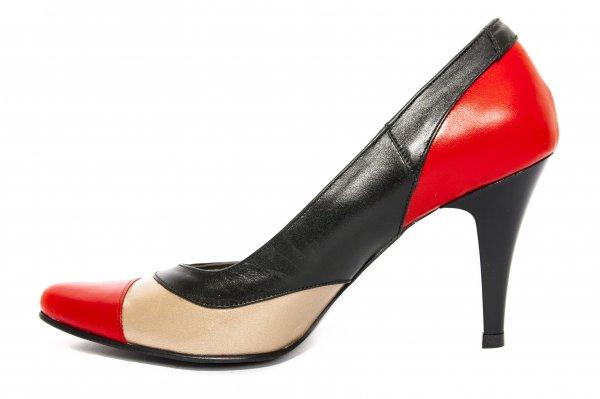 Pantofi dama cu toc 887.6 rosu negru auriu 34-41