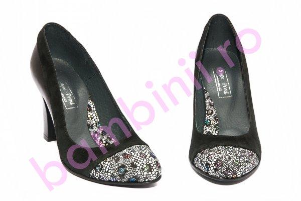 Pantofi dama cu toc 952.1 negru lux 34-41
