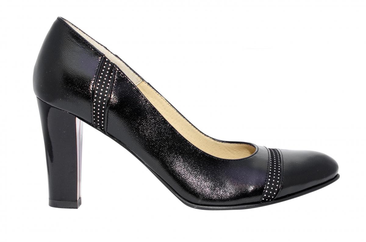 Pantofi dama cu toc 952.6 negru pipit 34-40