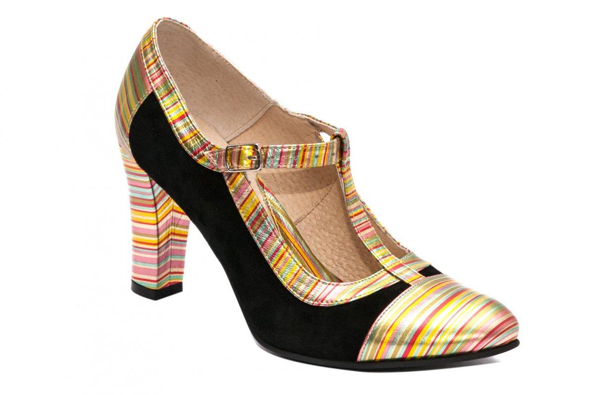 Pantofi dama cu toc 952 negru curcubeu 34-40