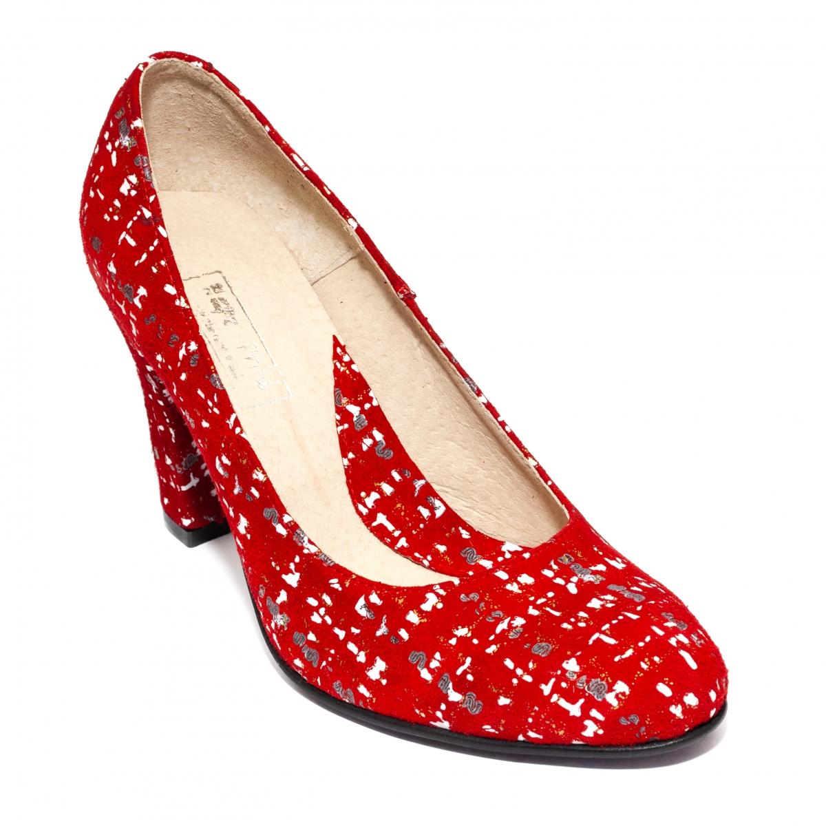 Pantofi dama cu toc 952 rosu lux 34-40