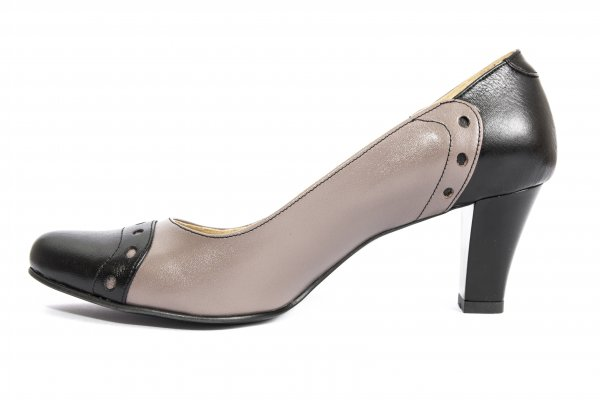 Pantofi dama cu toc 827 negru gri 34-41