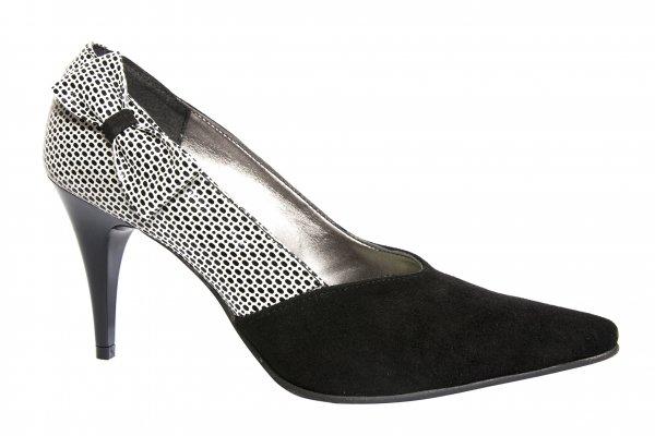 Pantofi dama cu toc din piele 725 negru piper 35-40