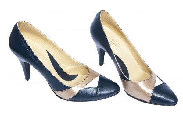 Pantofi femei cu toc piele 787 blu bej auriu 34-41