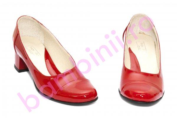 Pantofi dama cu toc gros 219 rosu lac 34-41