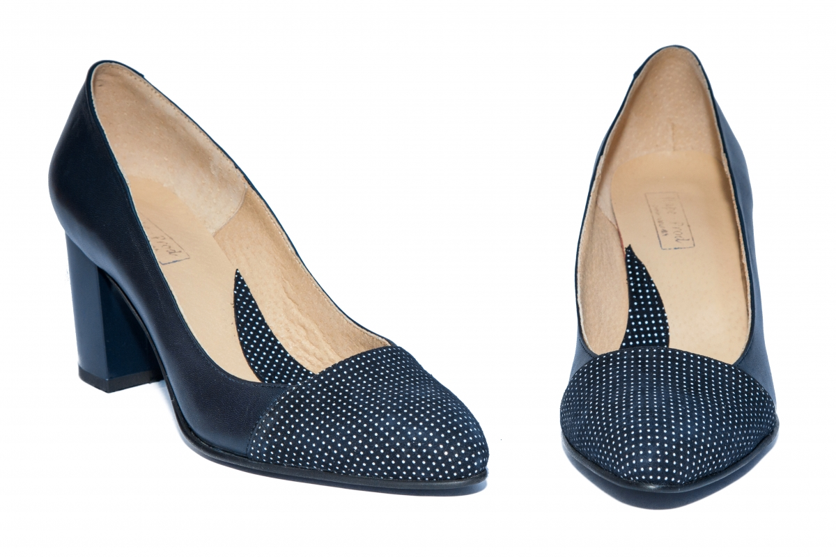 Pantofi dama cu toc gros 544 blu pipit 34-40
