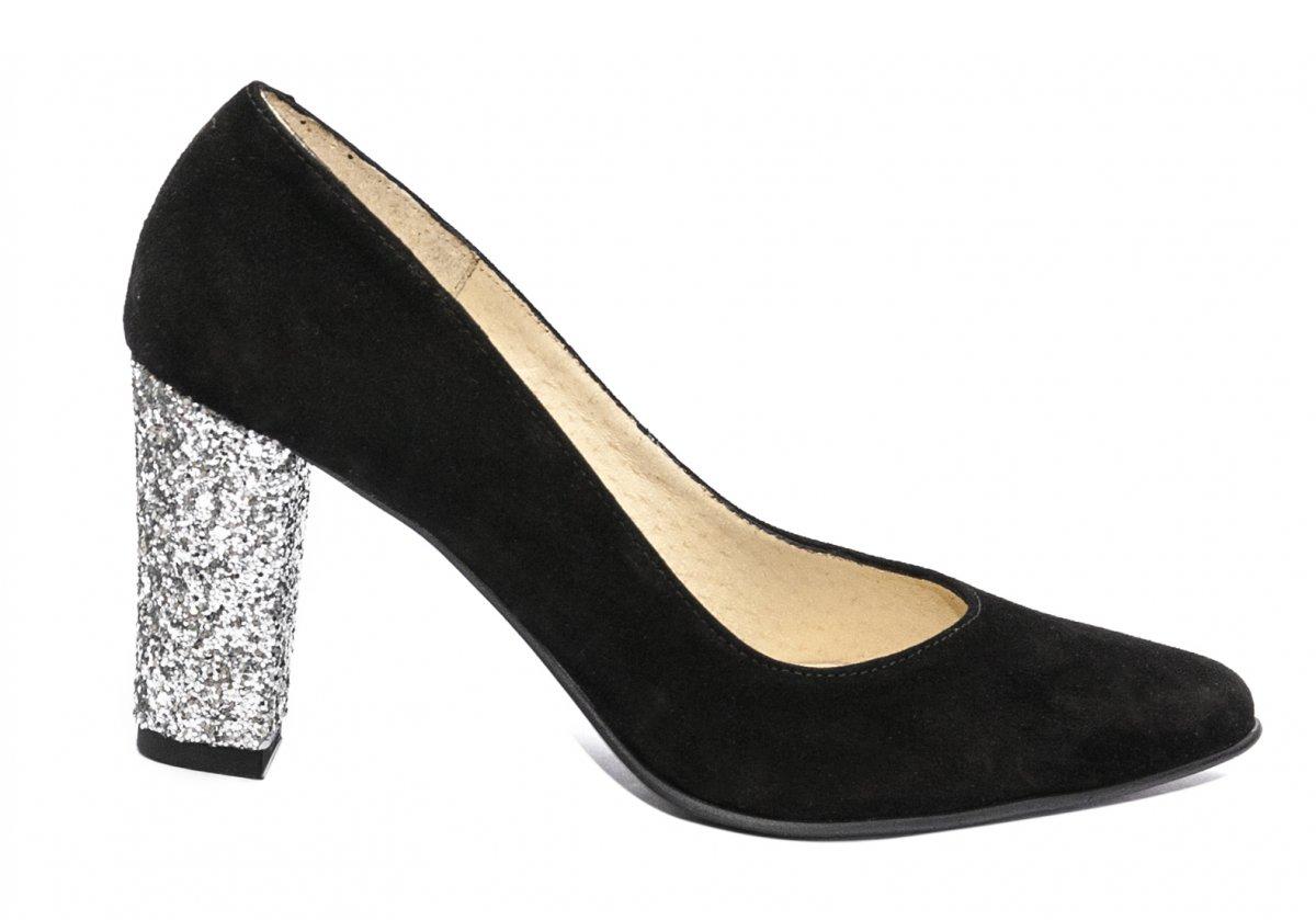 Pantofi dama cu toc hape velur 720 negru gliter 34-40