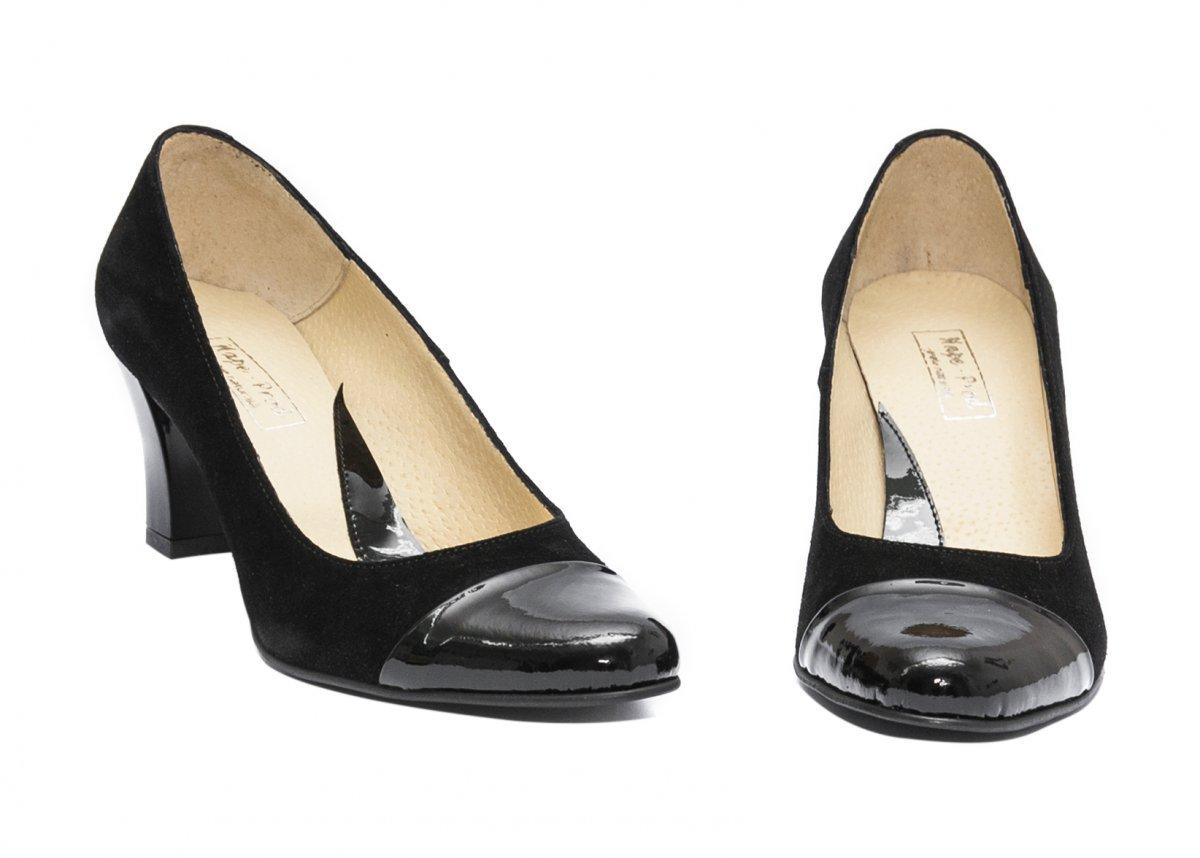 Pantofi dama cu toc hape velur 827A negru velur 34-40