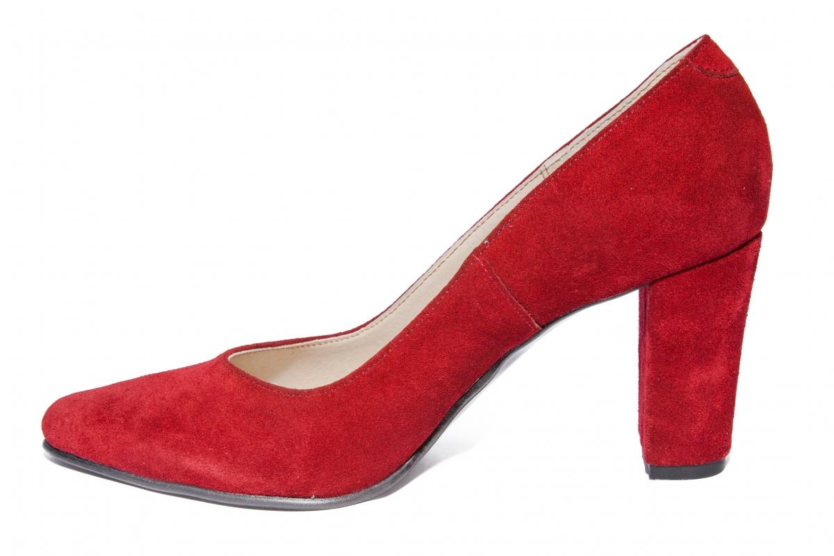 Pantofi dama cu toc imbracat hape velur 720 bordo 34-40