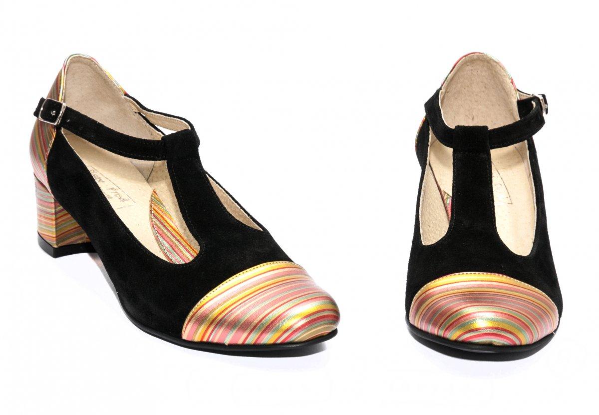 Pantofi dama cu toc mic 219 negru curcubeu 34-40