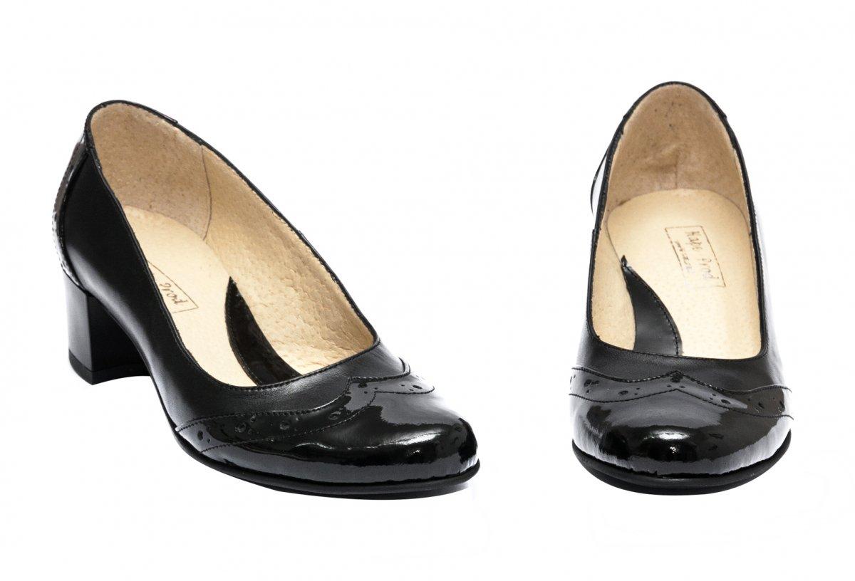 Pantofi dama cu toc mic 219.8 negru lac brodat 34-40