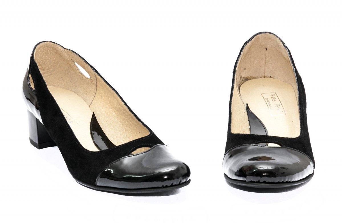 Pantofi dama cu toc mic 219.9 negru velur lac 34-40