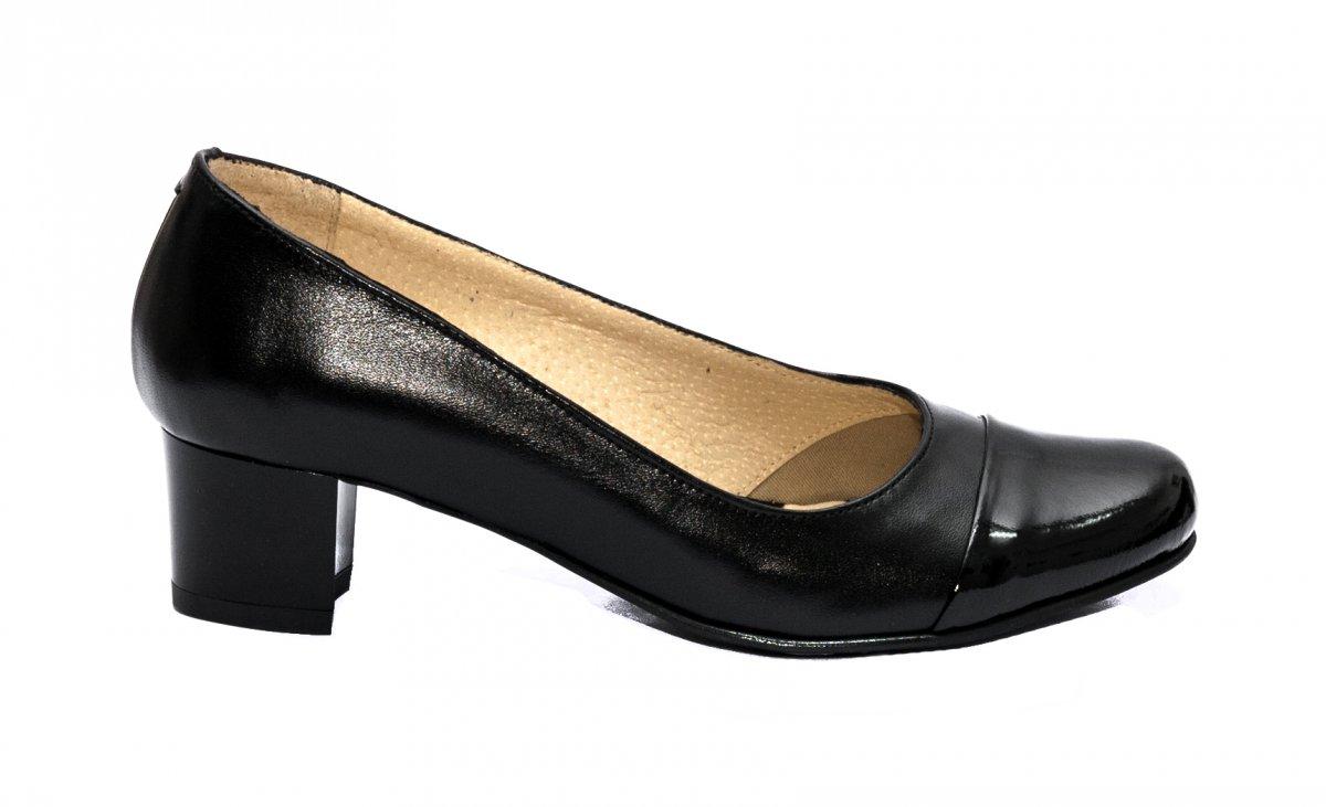 Pantofi dama cu toc mic hape 219A negru box lac 34-40