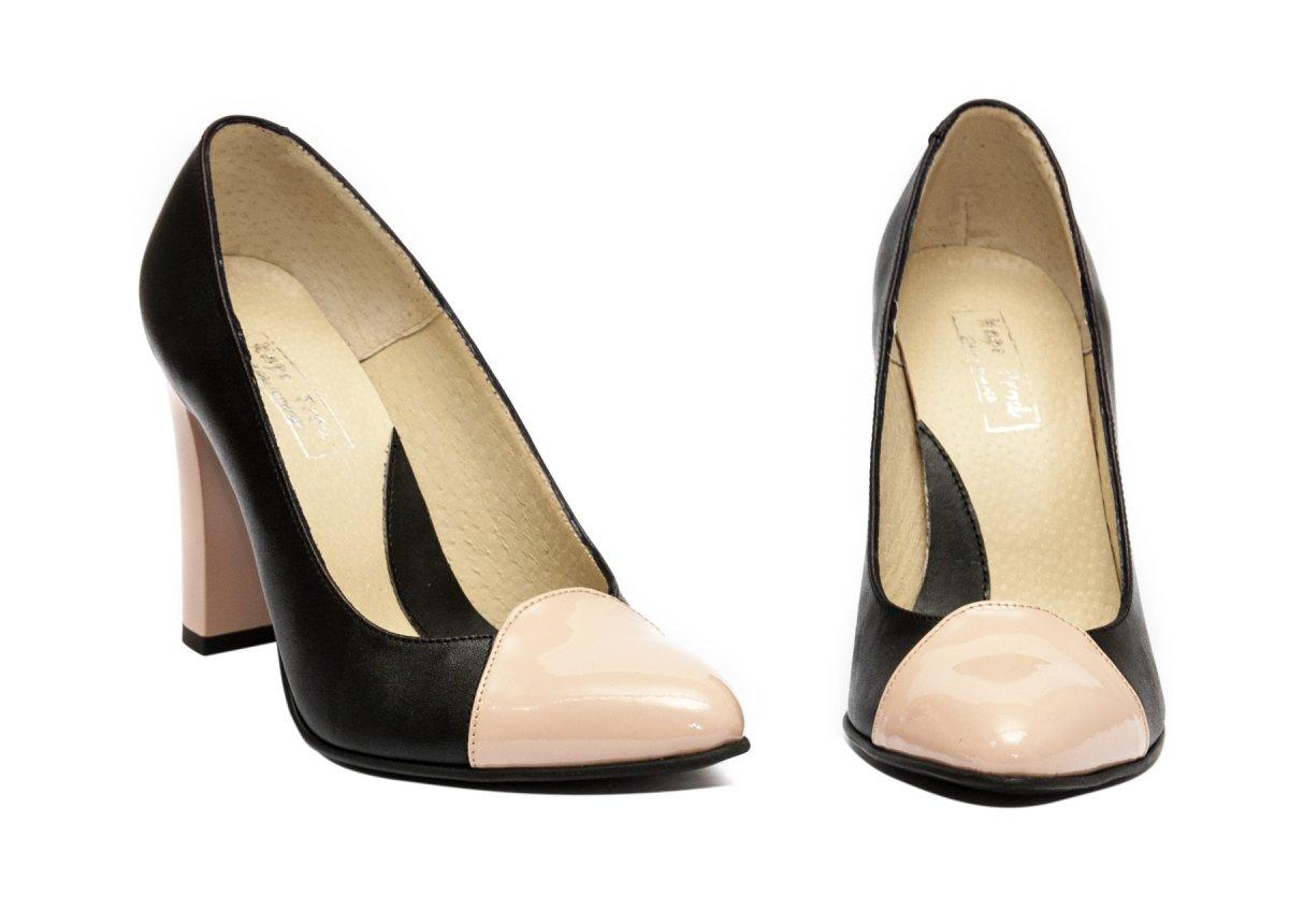 Pantofi dama cu toc piele 040.4 negru nude 34-40