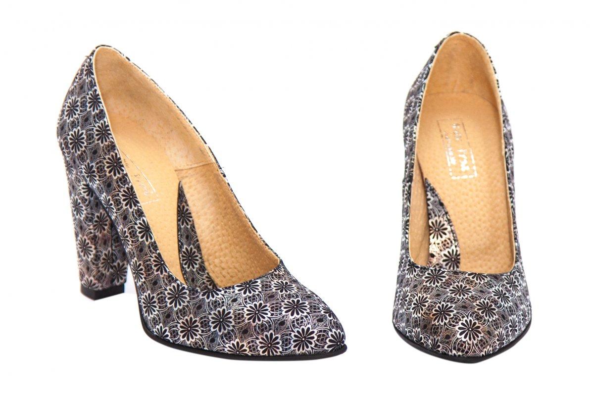 Pantofi dama cu toc piele hape 249 arrgintiu 34-40