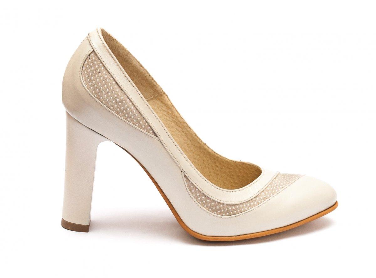 Pantofi dama cu toc piele naturala hape 040.5 bej pipit 34-40