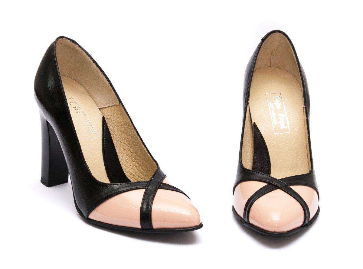 Pantofi dama cu toc piele naturala hape 040 negru nude lac 34-40