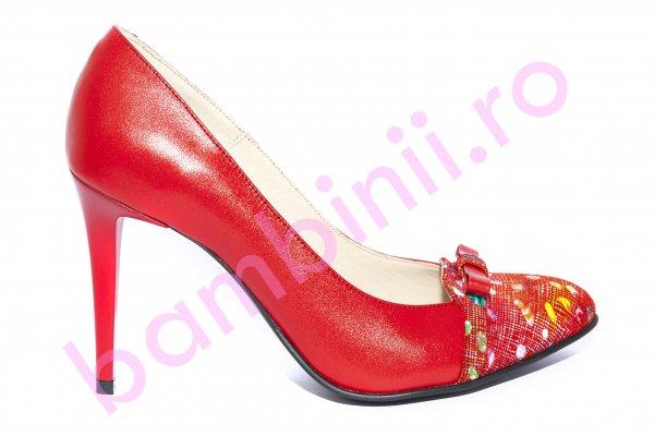 Pantofi dama cu toc subtire 040.4 rosu 34-41