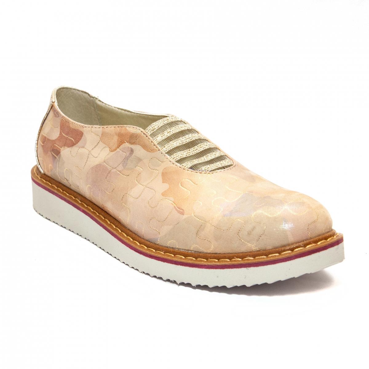 Pantofi dama piele 1905 bej roz auriu 26-40