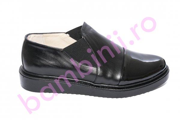 Pantofi dama piele DC5 negru lac 34-41