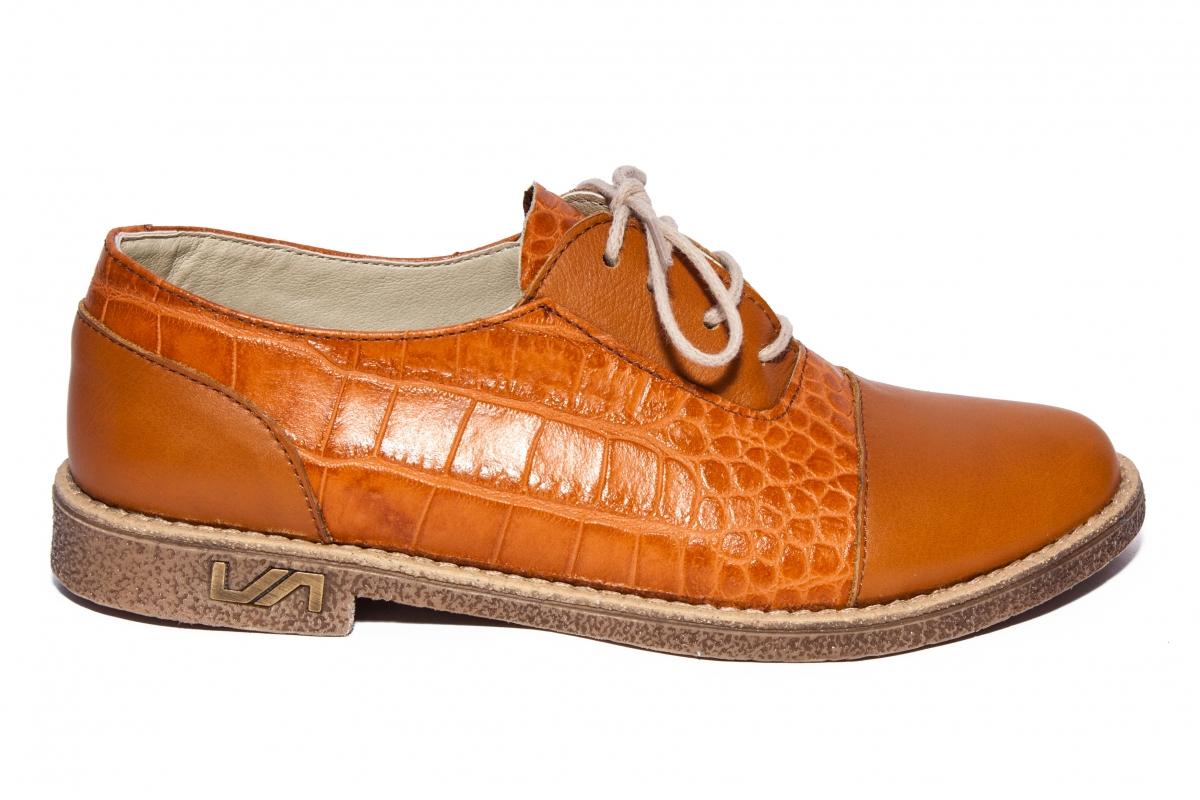 Pantofi dama piele Norsace maro croco 34-41