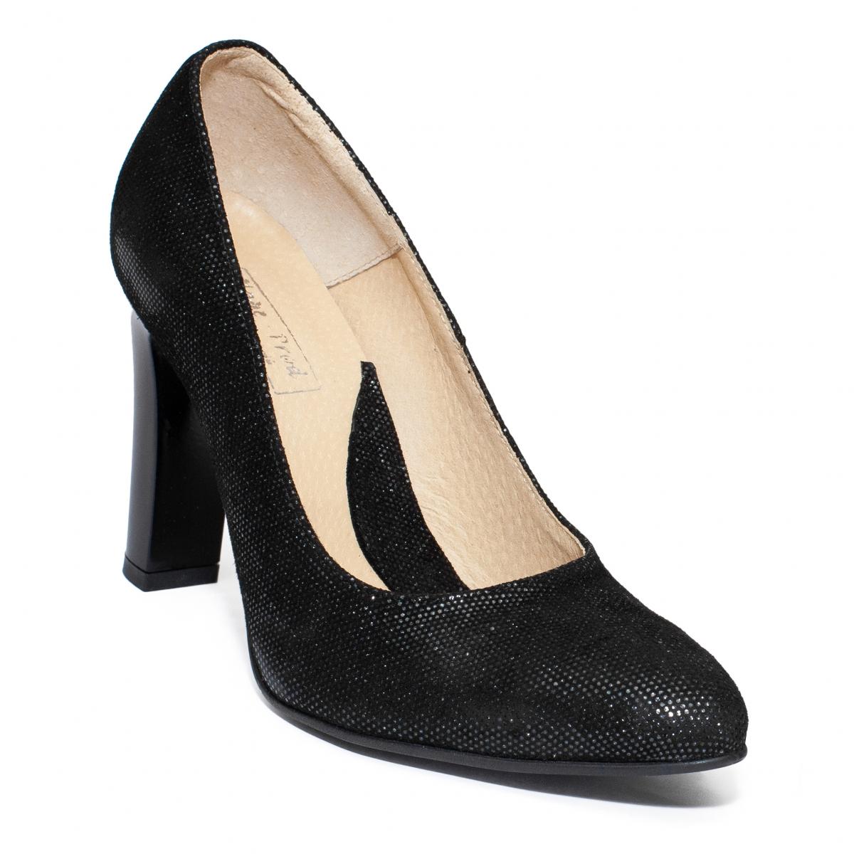 Pantofi dama piele cu toc 040 negru elegant 34-41