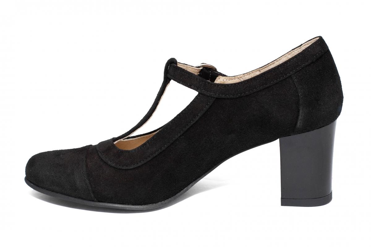 Pantofi dama piele intoarsa cu toc 827 negru velur 33-41