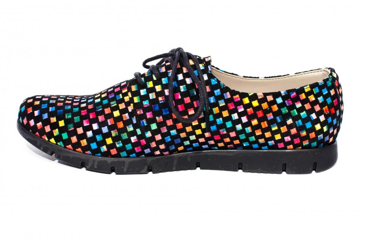 Pantofi dama piele multicolora 026s2 negru sah 34-40