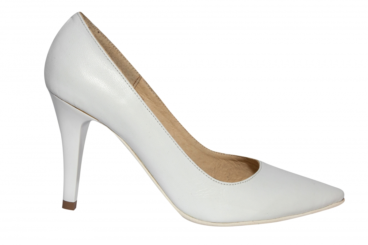 Pantofi dama stileto cu toc 004 alb box 34-41