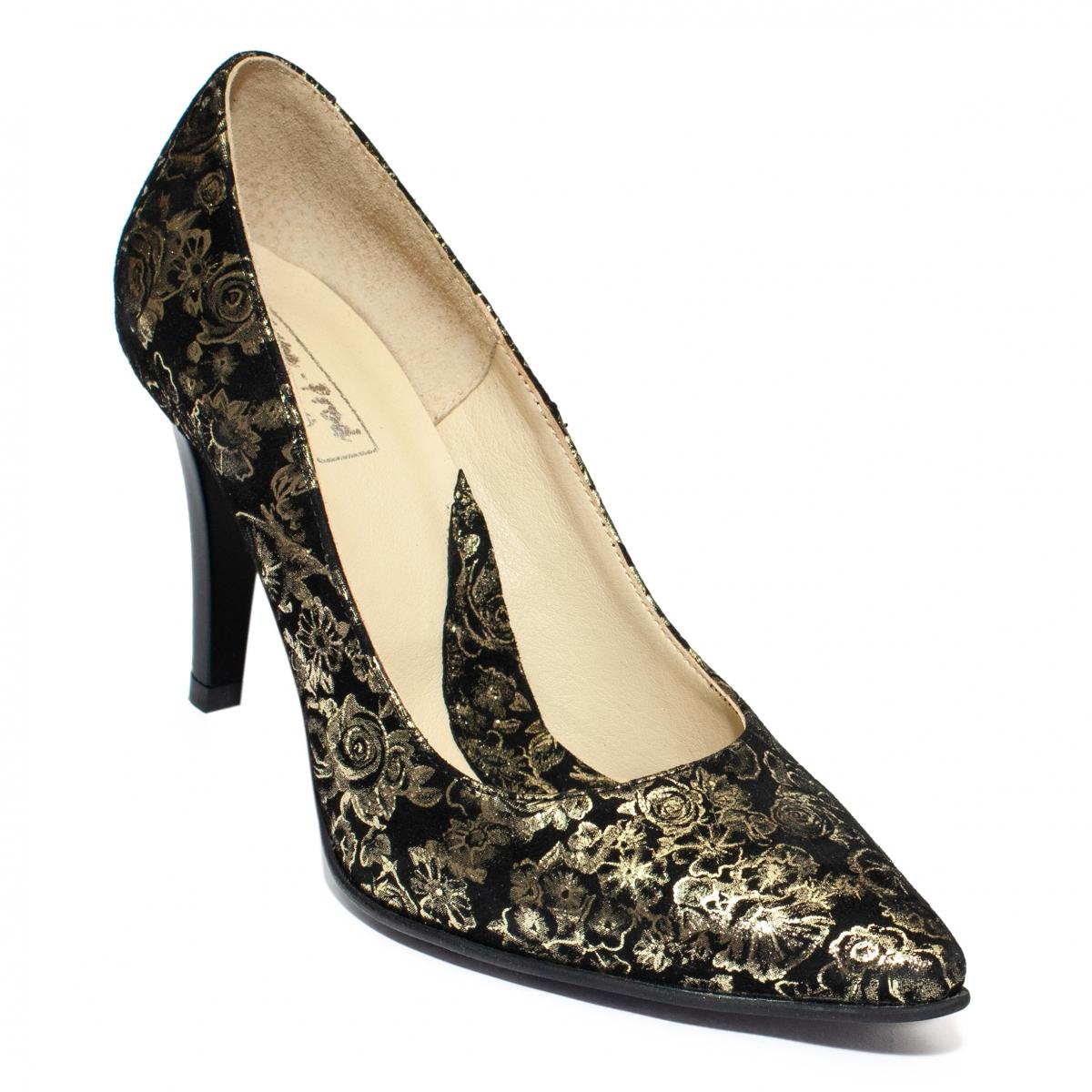 Pantofi dama stileto cu toc 004 negru auriu 33-40