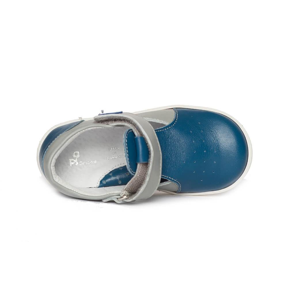 Pantofi decupati baieti pj shoes Pablo blu gri 18-26