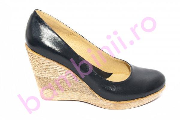 Pantofi femei cu platforma din piele 272 blu 34-41