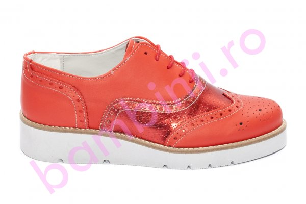 Pantofi femei talpa groasa piele naturala 110 corai 35-41