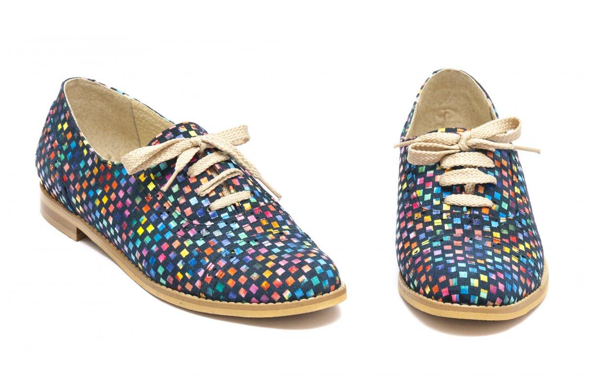 Pantofi fete din piele 026s1 sah multicolor 34-41