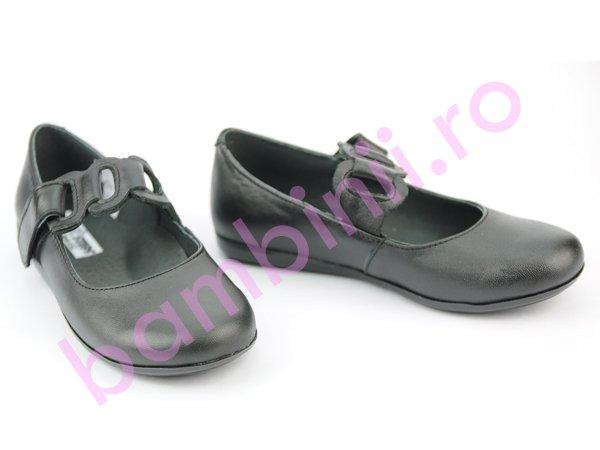 Pantofi fete din piele 639 negru
