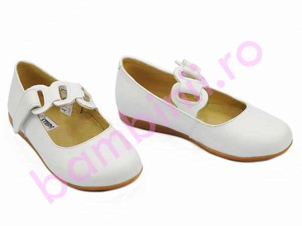 Pantofi fete din piele 639 alb