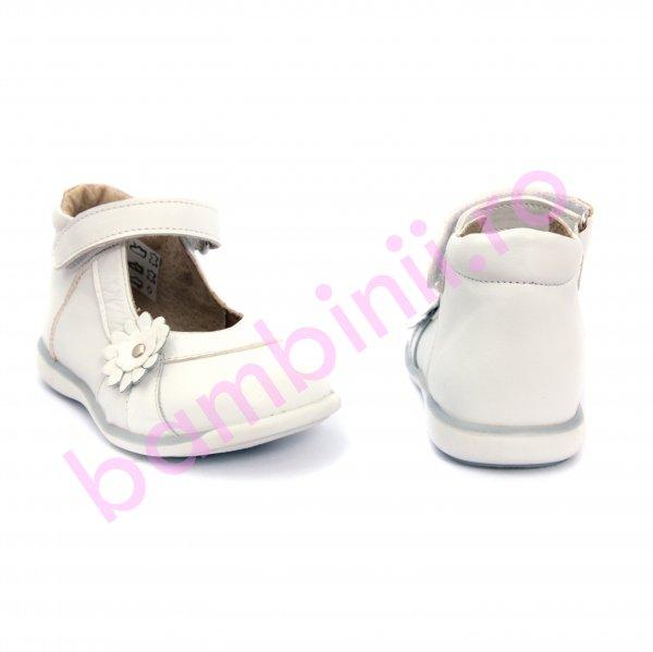 Pantofi fete din piele 746 alb+lac