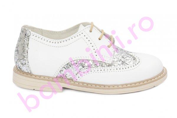 Pantofi fete hokide 404 alb gliter 26-37