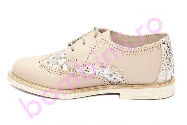 Pantofi fete hokide 404 bej cu croco 26-37