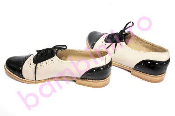 Pantofi copii piele 26s1 negru bej 34-41