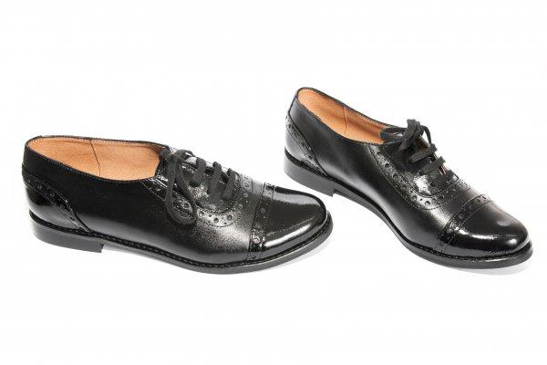 Pantofi fete piele 26s1 negru lac 34-41